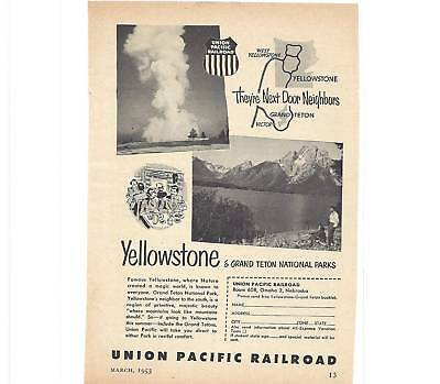RARE 1953 Union Pacific Railroad Ad Yellowstone/ Tetons