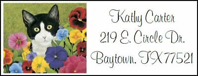 ~CUTE CAT AND PANSIES~  Return Address Labels!