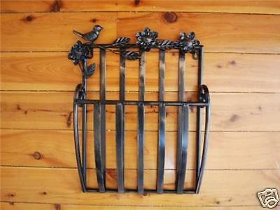Wrought Iron French Wall Mounted Magazine Rack Brown