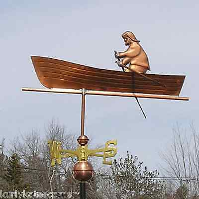 "Copper ""man In Boat "" Weathervane Made In Usa #208"