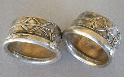 "Pair of Rare Antique primitive Rajasthan, Indian,silver cuffs, bracelets 3"" diam"
