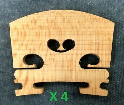 Four(4) 3/4 Size Violin Bridges *High Quality Low Cost*