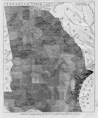 Georgia Slave Map, Percentage Of Slaves In Each County