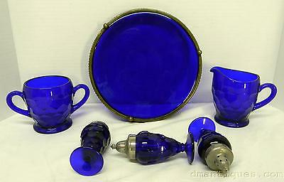 Antique German Cobalt Honeycomb Pattern Glass Set Creamer Sugar Shakers Tray 6pc
