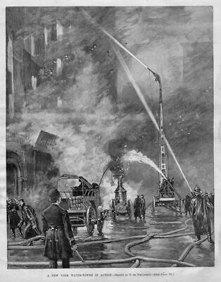Firefighting Firemen Antique Water-Tower Hose Ladder Steam Fire Engine History