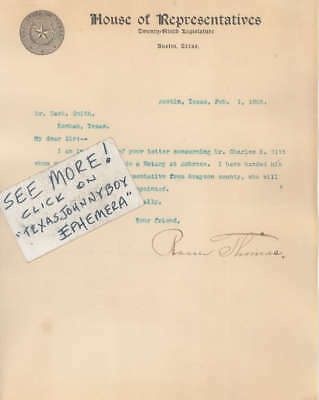 1905 Letterhead ROSSER THOMAS Austin Bonham Texas CONGRESS LAWYER congressman