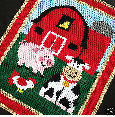 Crochet Patterns - BARNYARD FARM ANIMALS Afghan Pattern