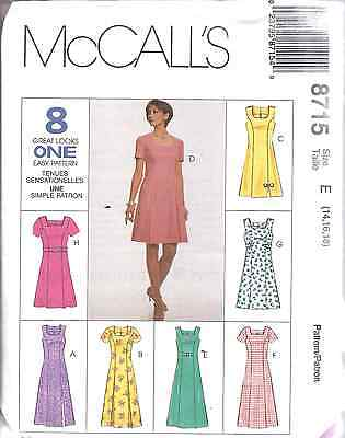 8715 UNCUT McCalls SEWING Pattern Misses Semi Fitted Princess Seamed Dress OOP