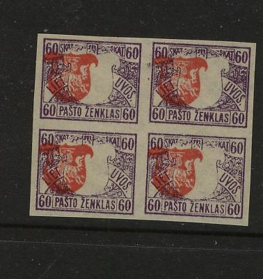 Lithuania  56  Mint imperf block  shifted center