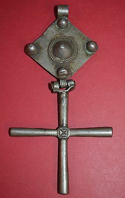 HUGE! Antique Ethiopian Coptic Christian Silver Cross Pendant Ethiopia, Africa