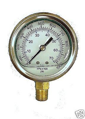 NEW Liquid Filled Hydraulic Pressure Gauge 0 - 1000 PSI