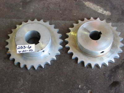 "2 New Dayton Chain Sprocket 25Mm 1 3/8"" Shaft 1"" Steel"