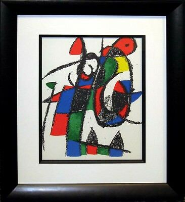 "Miro ""Lithograph II no. II"" 1975 Original Lithograph Art Custom Framed, Paris"