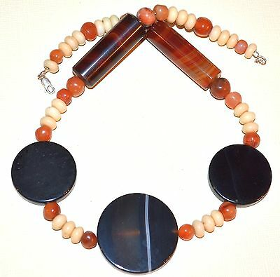 Necklace Of Antique Idar Oberstein Agate Trade Beads & African Carnelian Beads