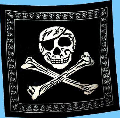 * PIRATE SKULL CROSSBONES BANDANA * 100% Cotton 65x65cm