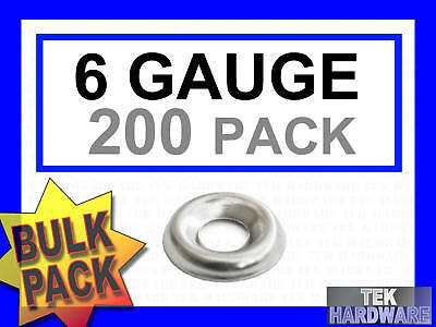 Stainless Steel Cup Washers.. 6 Gauge.. 200 Pack