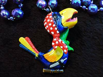 """Pirate Parrot"" Mardi Gras Necklace Bobble Action Bead Buffett (B853)"