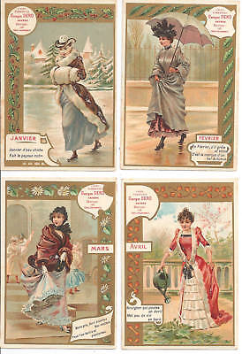Trade Cards Belgian Chromo Coffee Full Set Of 12 Months