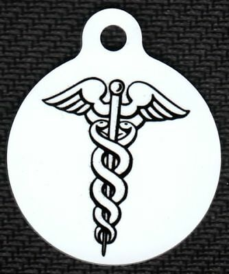 Engraved Pet ID Round Caduceus Pet Tag Medical