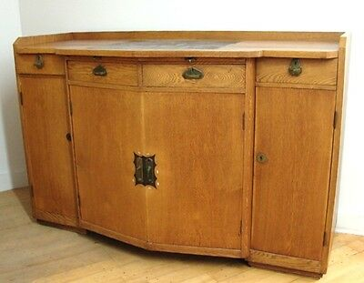 Early German Arts and Crafts Oak Sideboard Tile Top