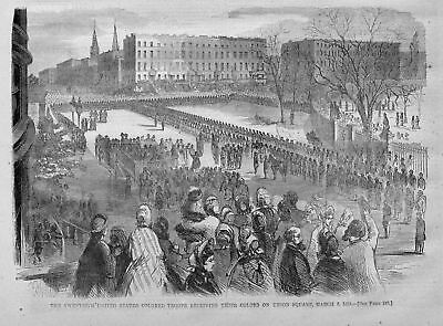 Negroes History Civil War Colored Troops Receiving Their Colors On Union Square