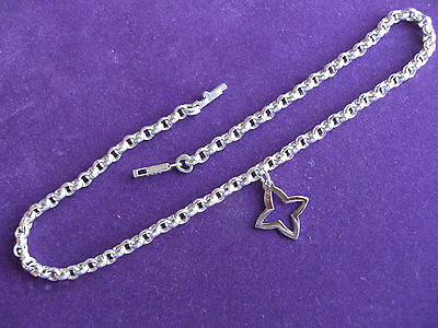 925 STERLING SILVER, OPEN STAR CHARM ANKLET 25cm long CHAIN No20