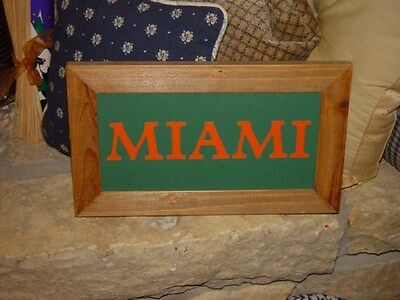 CUSTOM LETTERED RUSTIC SOLID CEDAR FRAME MIAMI MAN CAVE BAR DISPLAY SIGN