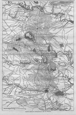 Civil War Topographical Map Of Virginia, Grant Campaign