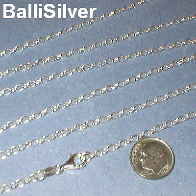 8 SILVER 3x4mm OVAL ROLO CABLE Chain Necklaces Lot 18""