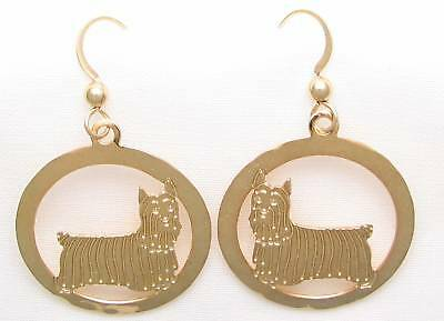 Silky Terrier Jewelry Gold Earrings by Touchstone