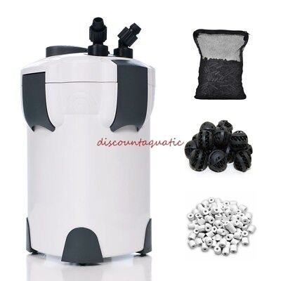 100 Gal Aquarium Fish Tank Canister Filter + 9W UV Sterilizer 370 GPH FREE MEDIA