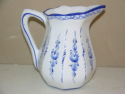 Blue + White Hand Painted Pitcher Made in Portugal