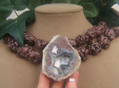 Brown Turquoise Necklace Geode Druzy Purple Lavender All Natural Huge Pendant