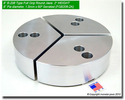"RTG-10205A ALUMINUM ROUND JAWS FOR TONGUE /& GROOVE 10/"" CHUCK W//A 2/"" HT 3PC SET"