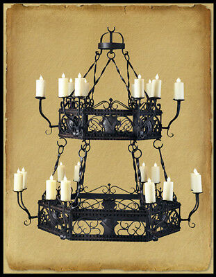 Ch1009 : Wrought Iron 2 Tier 24 Light Chandelier