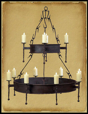 Ch1018 : Wrought Iron 2 Tier 12 Light Chandelier