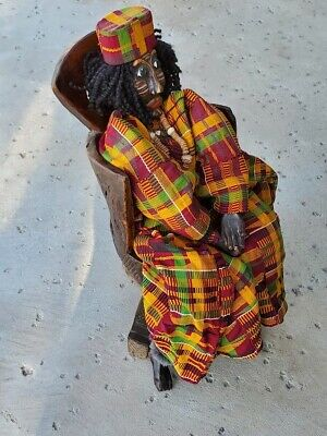 """1950's Burkina Faso small carved designs 17 """" solid single piece of old wood"""