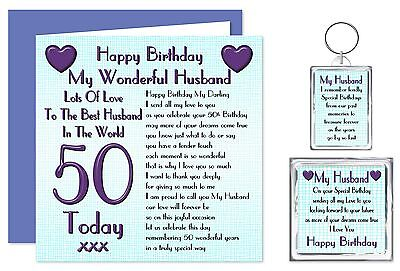 50th Husband Happy Birthday Gift Set - Card, Keyring & Magnet 50 Today Lots Love