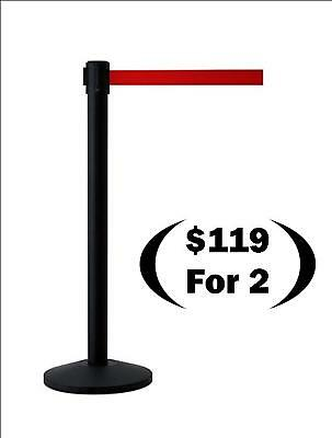 Retractable Belt Stands, Black with 7' Red Belt