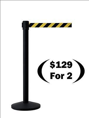 Retractable Belt Stanchions, Black with 7' Yellow/Black
