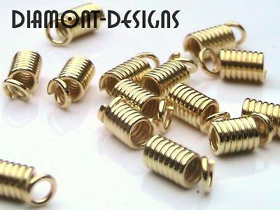 50 x Gold Plated Coil End Tips 9mm x 3.5mm Crimp E88