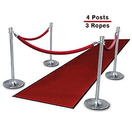 Chrome Stanchions (4-Pack with 3 Red Velvet Ropes)