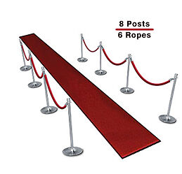 Queueing Stantions (8-Pack with 6 Red Velvet Ropes)