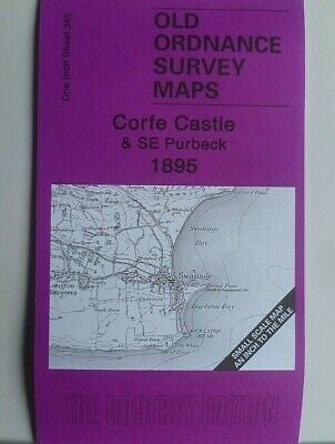 OLD ORDNANCE SURVEY MAP CORFE CASTLE & SE PURBECK  & MAP CORFE CASTLE  1895 s343