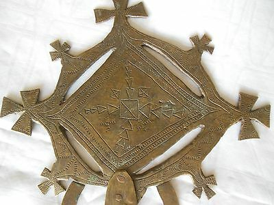 19th C bronze alloy Egyptian coptic hand cross 18 inch different designs 2 sides