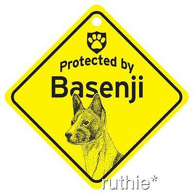 Protected by Basenji Dog Window Sign Made in USA