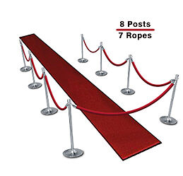 Queueing Stanchions (8-Pack with 7 Red Velvet Ropes)