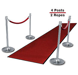 Chrome Stantions (4-Pack with 2 Red Velvet Ropes)