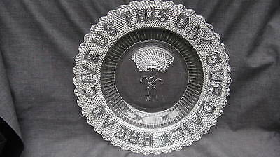 1877 Glass Give Us This Daily Bread Dewdrop Bread Plate