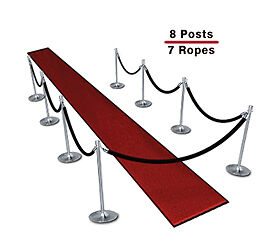 Queueing Stanchions (8-Pack with 7 Black Velvet Ropes)